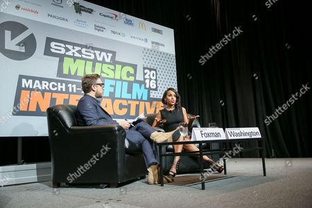 InStyle Editor Ariel Foxman, left, and actress Kerry Washington speak during South By Southwest at the Austin Convention Center, in Austin, Texas
