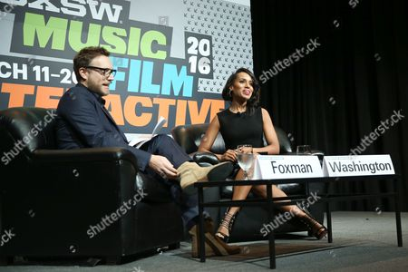 Ariel Foxman, left, and Kerry Washington speak during South By Southwest at the Austin Convention Center, in Austin, Texas