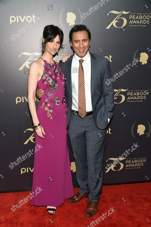 Producer Lillian LaSalle, left, and actor Aasif Mandvi attend the 75th Annual Peabody Awards Ceremony at Cipriani Wall Street, in New York