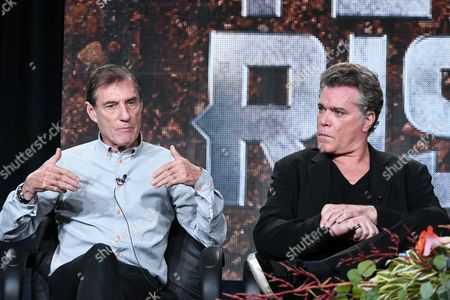 Roland Joffe, left, and Ray Liotta speak on stage A+E Networks 2015 Winter TCA, in Pasadena, Calif