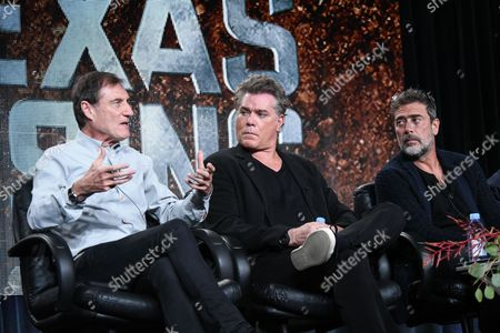 Roland Joffe, from left, Jeffrey Dean Morgan, and Ray Liotta speak on stage A+E Networks 2015 Winter TCA, in Pasadena, Calif
