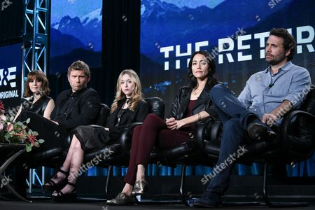 """From left, Mary Elizabeth Winstead, Mark Pellegrino, India Ennenga, Sandrine Holt, and Jeremy Sisto of of A&E's """"The Returned"""" speak on stage at A+E Networks 2015 Winter TCA, in Pasadena, Calif"""