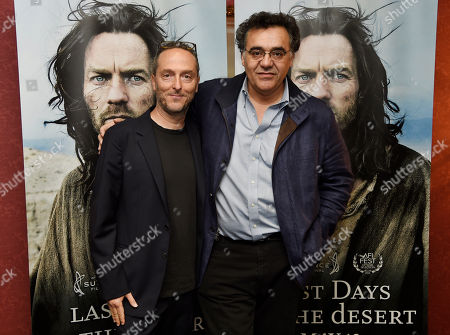 """Rodrigo Garcia, right, writer/director of """"Last Days in the Desert,"""" poses with the film's cinematographer Emmanuel Lubezki at a special screening of the film at Laemmle's Royal Theatre, in Los Angeles"""