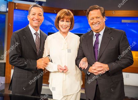 Television Academy Chairman and CEO Bruce Rosenblum, from left, Stephanie Edwards, and Sam Rubin after Bruce Rosenblum announced she is this year's recipient of the esteemed Los Angeles Area Governors Award during the KTLA News at 9am on in Los Angeles. Edwards will be honored at the 68th Los Angeles Area Emmy Awards on Saturday, July 23, 2016
