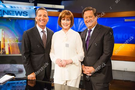 Portrait of Television Academy Chairman and CEO Bruce Rosenblum, Stephanie Edwards and Sam Rubin after Stephanie received a surprise announcement that she is this year's recipient of the esteemed Los Angeles Area Governors Award during the KTLA News at 9am on in Los Angeles. Edwards will be honored at the 68th Los Angeles Area Emmy Awards on Saturday, July 23, 2016