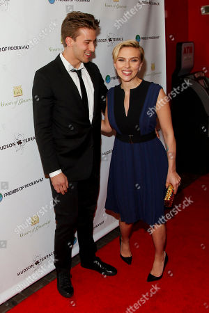 Stock Picture of Hunter Johansson, left, and Scarlett Johansson, right, attend the Champions of Rockaway Hurricane Sandy Fundraiser at Hudson Terrace, in New York