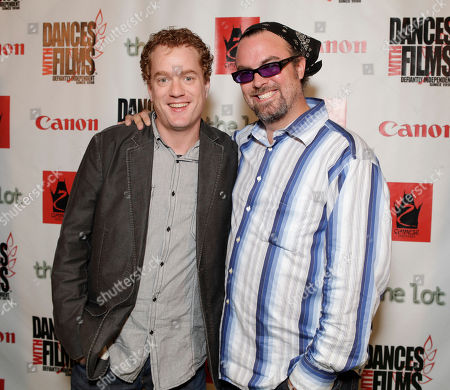 Actor Todd Robert Anderson, left, and director/writer Steve Hicks arrive at the Fuzz Track City World Premiere at Dances With Films, in Los Angeles