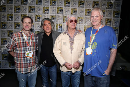 """Tom Ortenberg, CEO of Open Road Films, Mitch Glazer, Bill Murray and Steve Bing seen at Open Road Films """"Rock The Kasbah"""" presentation at 2015 Comic-Con, in San Diego"""