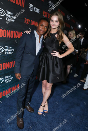 Octavius J. Johnson and Kerris Dorsey pictured at SHOWTIME and Time Warner Cable's Ray Donovan Season 2 premiere on Wednesday, July 9 at Nobu in Malibu, Calif