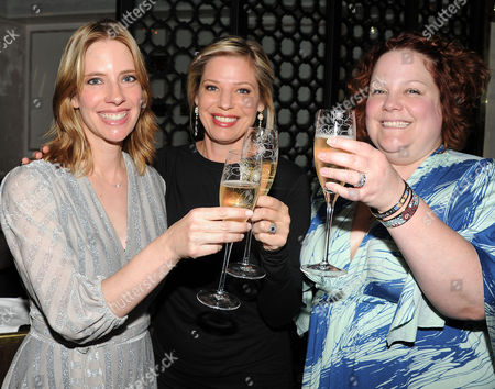 Erica Rivinoja, from left, Kayla Alpert, and Emily Spivey are seen at the The Buzz Girls Perrier Jouet Creatives dinner on in Los Angeles, Calif