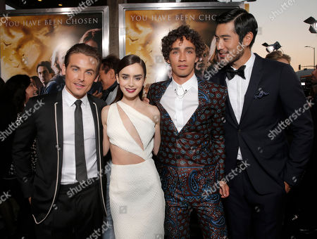 "Kevin Zegers, Lily Collins, Robert Sheehan and Godfrey Gao arrive on the red carpet at the world premiere of ""The Mortal Instruments: City of Bones"" at the ArcLight Cinerama Dome on in Los Angeles"