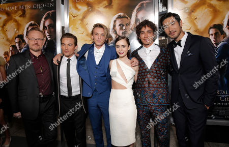 "Jared Harris, Kevin Zegers, Jamie Campbell Bower, Lily Collins, Robert Sheehan and Godfrey Gao arrive on the red carpet at the world premiere of ""The Mortal Instruments: City of Bones"" at the ArcLight Cinerama Dome on in Los Angeles"