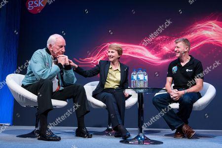 NASA Apollo 15 American pilot Al Worden, the first British astronaut in space, Helen Sharman and British European Space Astronaut Tim Peake
