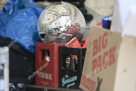 A disco ball, stands on beer boxes in a lorry, belongings of activists who left voluntarily the Volksbuehne theater (People's Theater) on Rosa-Luxemburg-Platz in Berlin, Germany, 28 September 2017. As a 'trans-media performance' and an act of protest against the new direction of the traditional theater, a group of people have been occupying the building since 22 September 2017. The new director, Belgian Chris Dercon, let the theater clear by police on 28 September 2017.