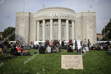 A cardboard reading literally like: 'Jesus Chris - opportunity missed' after the occupation of the Volksbuehne theater (People's Theater) is terminated by police at Rosa-Luxemburg-Platz (-square) in Berlin, Germany, 28 September 2017. As a 'trans-media performance' and an act of protest against the new direction of the traditional theater, a group of people have been occupying the building since 22 September 2017. The new director, Belgian Chris Dercon, let the theater clear by police on 28 September 2017.