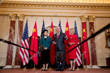 Rex Tillerson, Betsy DeVos, Liu Yandong. Secretary of State Rex Tillerson, accompanied by Education Secretary Betsy DeVos, right, speaks to a reporter as he welcomes Chinese Vice Premier Liu Yandong, left, during a working breakfast at the State Department, in Washington