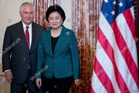 Rex Tillerson, Liu Yandong. Secretary of State Rex Tillerson welcomes Chinese Vice Premier Liu Yandong during a working breakfast at the State Department, in Washington
