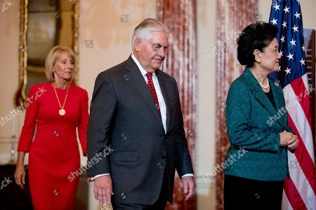 Rex Tillerson, Betsy DeVos, Liu Yandong. Secretary of State Rex Tillerson, accompanied by Education Secretary Betsy DeVos, left, welcomes Chinese Vice Premier Liu Yandong, right, during a working breakfast at the State Department, in Washington