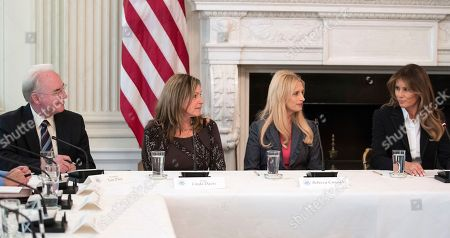 """Tom Price, Melania Trump, Rebecca Crowder, Linda Davis. From left, Secretary of Health and Human Services Tom Price, Macomb County District Judge Linda Davis, Rebecca Crowder of """"Lily's Place,"""" and first lady Melania Trump attend an opioid roundtable discussion at the White House in Washington, . Melania Trump invited experts and people affected by addiction to opioids to the White House for a listening session and discussion about the epidemic"""