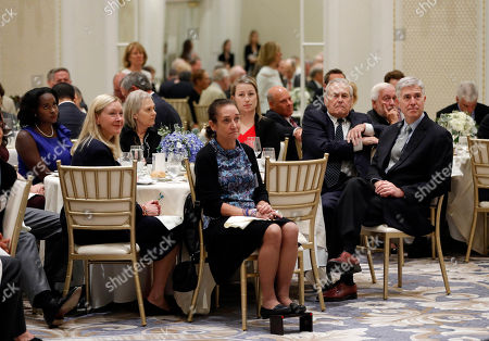 Neil Gorsuch, Donald Rumsfeld. Former Secretary of Defense Donald Rumsfeld, seated second from the right, and Supreme Court Justice Neil Gorsuch, far right, attend the 50th anniversary of the Fund for America Studies luncheon at the Trump Hotel in Washington