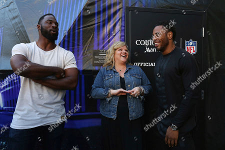 """Callette Nielsen, Justin Tuck, Rashad Jennings. Courtyard's global brand VP, Callette Nielsen, is joined by NFL stars Justin Tuck and Rashad Jennings to help promote Courtyard's """"Super Bowl Sleepover Contest"""" by showcasing a custom 4-D Virtual Reality dome that simulates the prize experience of being on a field at this year's Super Bowl on in New York"""