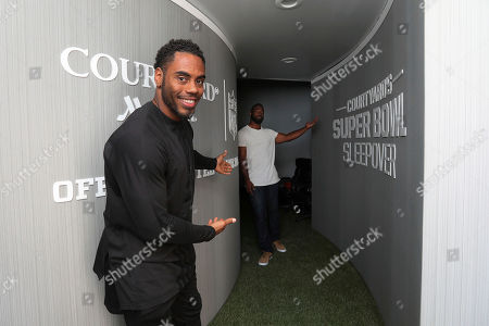 """Rashad Jennings, Justin Tuck. NFL stars Rashad Jennings and Justin Tuck help promote Courtyard's """"Super Bowl Sleepover Contest"""" by showcasing a custom 4-D Virtual Reality dome that simulates the prize experience of being on a field at this year's Super Bowl on in New York"""