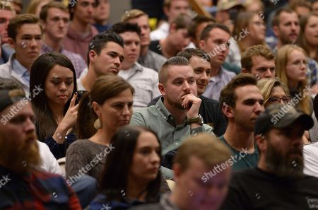 Students listen as controversial conservative commentator Ben Shapiro, editor-in-chief of the Daily Wire and former editor-at-large of Breitbart News, addresses the student group Young Americans for Freedom at the University of Utah's Social and Behavioral Sciences Lecture Hall, in Salt Lake City