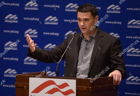 Stock Picture of Controversial conservative commentator Ben Shapiro, editor-in-chief of the Daily Wire and former editor-at-large of Breitbart News, addresses the student group Young Americans for Freedom at the University of Utah's Social and Behavioral Sciences Lecture Hall, in Salt Lake City