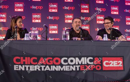 Actors Allison Scagliotti, Saul Rubinek and Eddie McClintock during the Warehouse 13 panel at the Chicago Comic & Entertainment Expo at McCormick Place, in Chicago