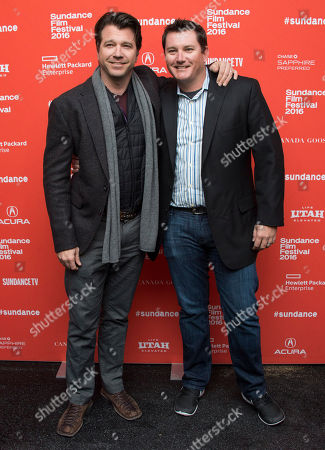 "Actor Ben Browder and Mike Ivancevic pose at the premiere of ""Outlaws and Angels"" during the 2016 Sundance Film Festival, in Park City, Utah"