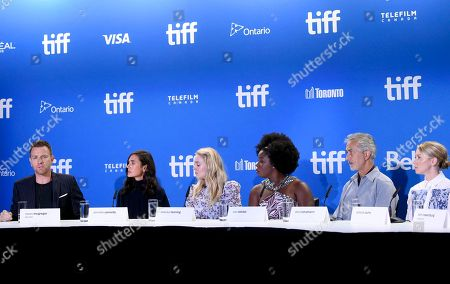 Actor/director Ewan McGregor, from left, and actors Jennifer Connelly, Dakota Fanning, Uzo Aduba, David Strathairn and Valorie Curry participate in the American Pastoral press conference on day 3 of the Toronto International Film Festival at the TIFF Bell Lightbox, in Toronto