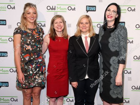 "Abby Elliott, from left, Frances Berwick, Lara Spotts and Jill Kargman attend a premiere screening of Bravo's new scripted comedy series ""Odd Mom Out"" at Florence Gould Hall, in New York"