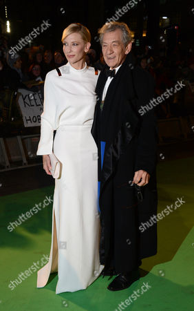 """Actors Cate Blanchett and Sir Ian McKellan arrive at the UK premiere of """"The Hobbit: An Unexpected Journey"""" at The Odeon Leicester Square, London on"""