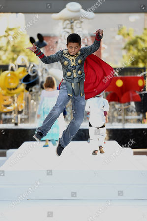Stock Picture of James Nenninger dressed up as Marvel's Thor is seen at Disney Consumer Products' VIP Halloween Event on in Glendale, Calif