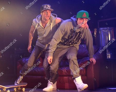 Drew Chadwick, from left and Wesley Stromberg of the pop rock band Emblem3 perform in concert during the group's Band Life Tour at the Fillmore, in Silver Spring, Md