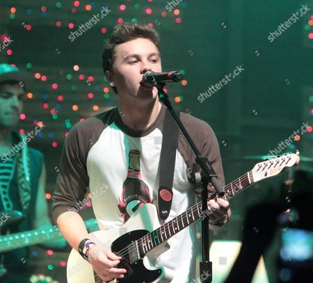 Keaton Stromberg of the pop rock band Emblem3 performs in concert during the group's Band Life Tour at the Fillmore, in Silver Spring, Md