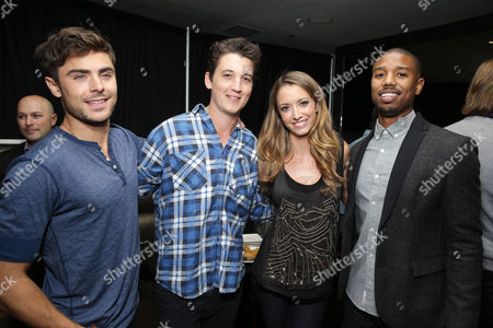 EXCLUSIVE CONTENT - PREMIUM RATES APPLY Zac Efron, Miles Teller, moderator Taryn Southern and Michael B. Jordan seen at FilmDistrict's 'That Awkward Moment' Red Band Trailer Launch Celebration and Q&A, on Tuesday, Oct., 15, 2013 in Culver City, Calif