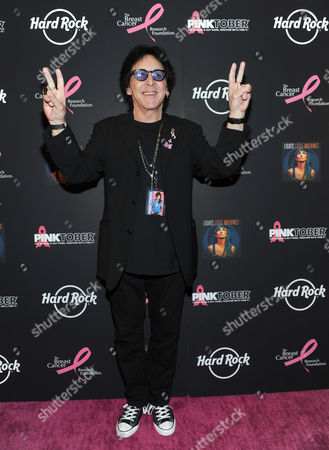 Founding member of KISS and breast cancer survivor Peter Criss poses on the PINK carpet at Hard Rock Cafe New York to launch PINKTOBER, Hard Rock's 15th annual breast cancer awareness campaign, benefitting The Breast Cancer Research Foundation