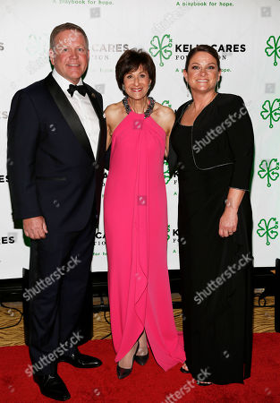 Brian and Paqui Kelly, pose with Myra Biblowit, center, at the Kelly Cares Foundation's 5th Annual Irish Eyes Gala at the JW Marriot Essex House, on in New York. Established in 2008 by Notre Dame head football coach Brian Kelly and his wife Paqui, the Kelly Cares Foundation has donated over $2 million to support causes locally, nationally and globally