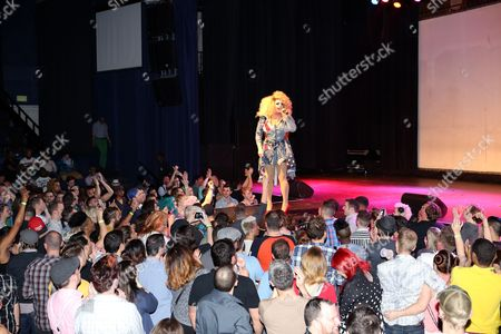 Mimi Imfurst performing at Center Stage Theatre, in Atlanta. Hosted by Michelle Visage, featured drag queens on the tour are Jinkx Monsoon, Sharon Needles, Ivy Winters, Carmen Carrera, Pandora Boxx, Phi Phi O'hara and DJ Mimi Imfurst