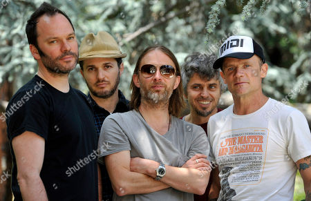 Members of Atoms For Peace, from left, Nigel Godrich, Joey Waronker, Thom Yorke, Mauro Refosco and Flea in Los Angeles. Yorke and Godrich announced Sunday, July 14, on Twitter they're pulling their Atoms For Peace collaboration off the streaming service Spotify over royalty payments they say are paltry