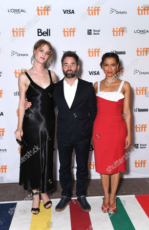 "Mackenzie Davis, Director Owen Harris and Gugu Mbatha-Raw seen at Netflix ""Black Mirror"" premiere at the 2016 Toronto International Film Festival, in Toronto"
