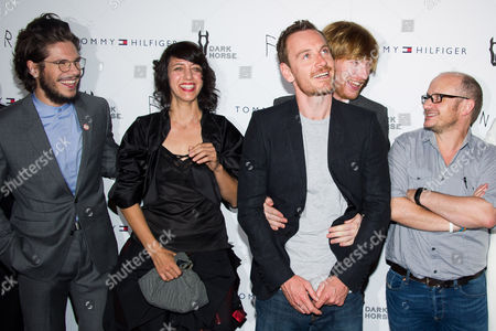 "Francois Civil, left, Carla Azar, Michael Fassbender, Domhnall Gleeson and Lenny Abrahamson attend the ""Frank"" premiere on in New York"