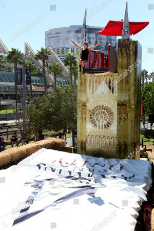Kacy Catanzaro takes the Leap of Faith at Ubisoft's Assassin's Creed Experience during Comic-Con on Thurs., in San Diego. The Assassin's Creed Experience is open to the public through Sun. July 27th