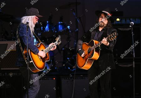 Stock Image of Musicians J Mascis, left, and Sean Lennon perform together at The Music of David Bowie tribute concert at Carnegie Hall on Thursday, March, 31, 2016, in New York
