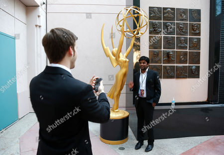Shubhashish Bhutiani, right, poses for a photo at the 35th College Television Awards, presented by the Television Academy Foundation at The Leonard H. Goldenson Theatre in the NoHo Arts District, in Los Angeles