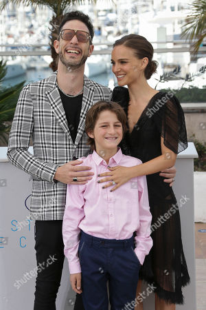 Actor and singer Gilad Kahana, actor Amir Tessler and director and actor Natalie Portman pose for photographers at the photo call for the film A Tale of Love and Darkness, at the 68th international film festival, Cannes, southern France