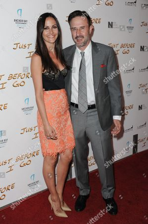 "David Arquette, right, and Christina McLarty arrive at the LA Screening of ""Just Before I Go"" held at Arclight Cinemas - Hollywood, in Los Angeles"