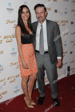 "Christina McLarty, left, and David Arquette arrive at the LA Screening of ""Just Before I Go"" held at Arclight Cinemas - Hollywood, in Los Angeles"