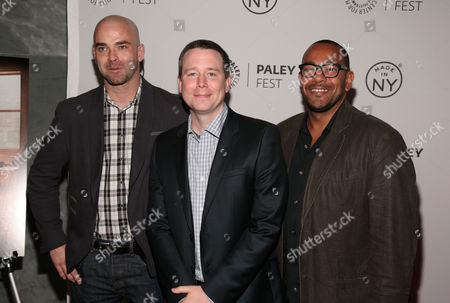 "Stock Photo of From left, executive producers Craig Sweeny, Rob Doherty and Carl Beverly attend a screening of ""Elementary"" at PaleyFest: Made In NY on in New York"
